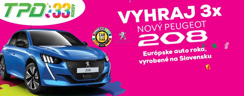 Vyhraj 3x nový Peugeot 208 s TPD.sk