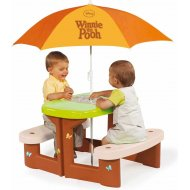 Smoby piknikový stolík so slnečníkom Medvedík Pú