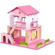 Rakonrad  Drevený domček pre bábiky - ružový